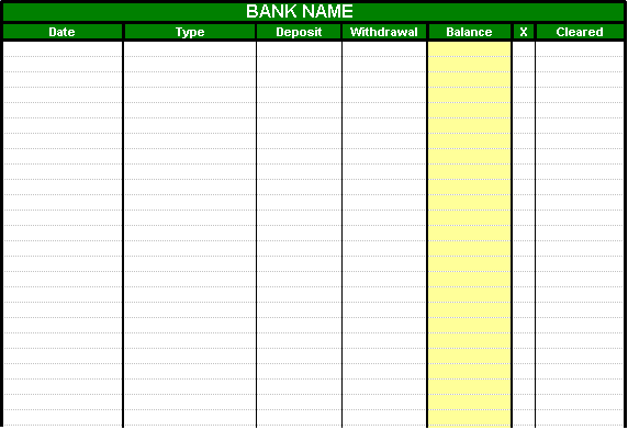 Checking Account Spreadsheet